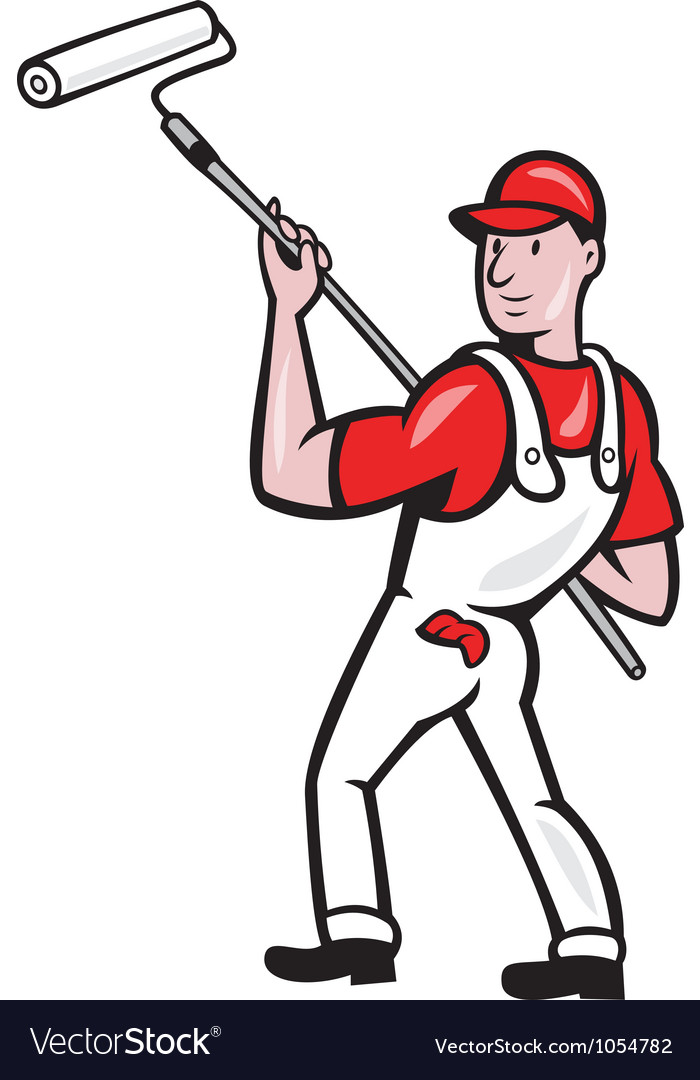 House painter with paint roller cartoon vector | Price: 3 Credit (USD $3)