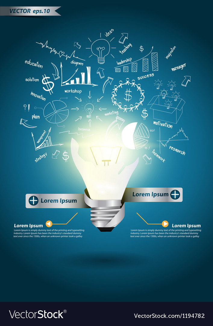 Idea light bulb broken with drawing business plan vector | Price: 1 Credit (USD $1)