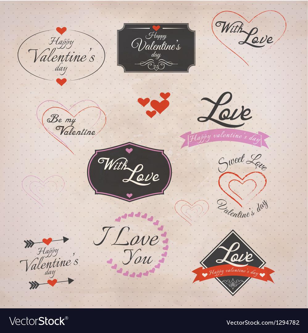 Retro valentines labels vector | Price: 1 Credit (USD $1)