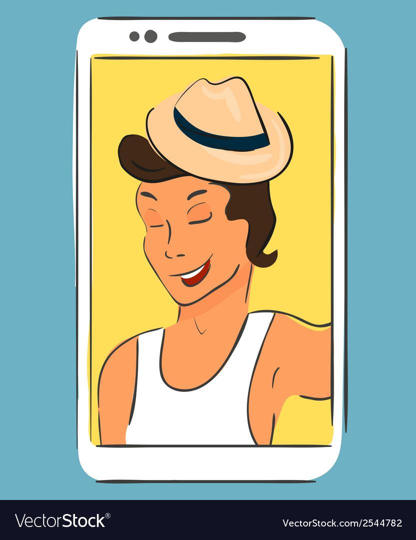 Selfie of guy wearing hat handdrawn vector   Price: 1 Credit (USD $1)