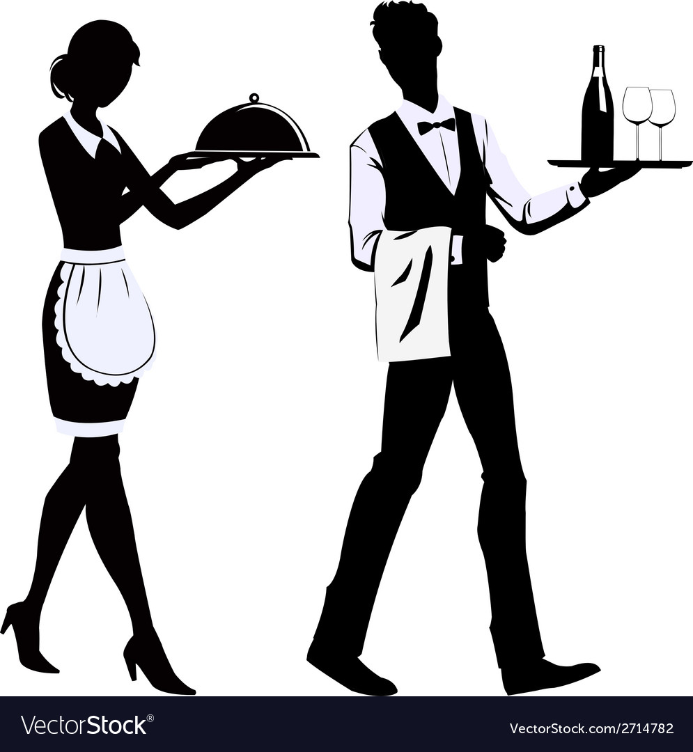 Silhouette waiters vector | Price: 1 Credit (USD $1)