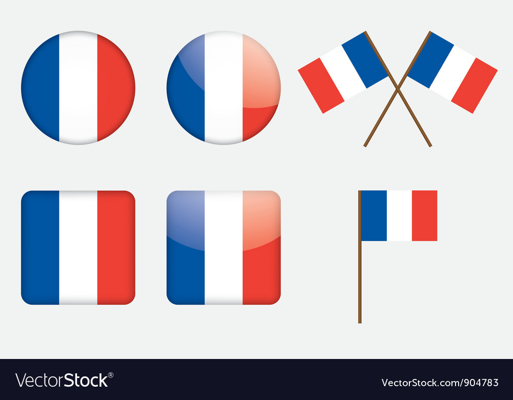 Badges with flag of france vector | Price: 1 Credit (USD $1)