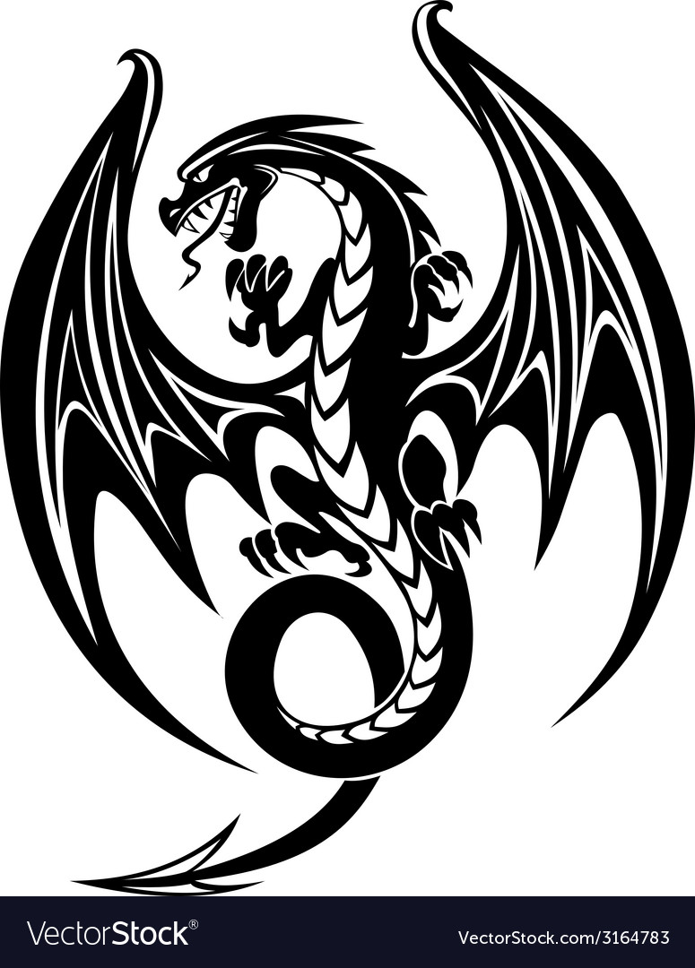 Black dragon vector | Price: 1 Credit (USD $1)