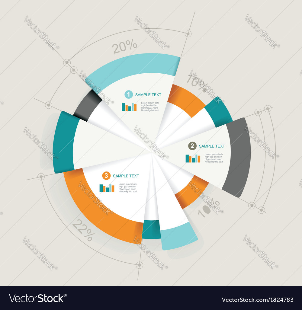 Business pie chart for documents and reports for vector