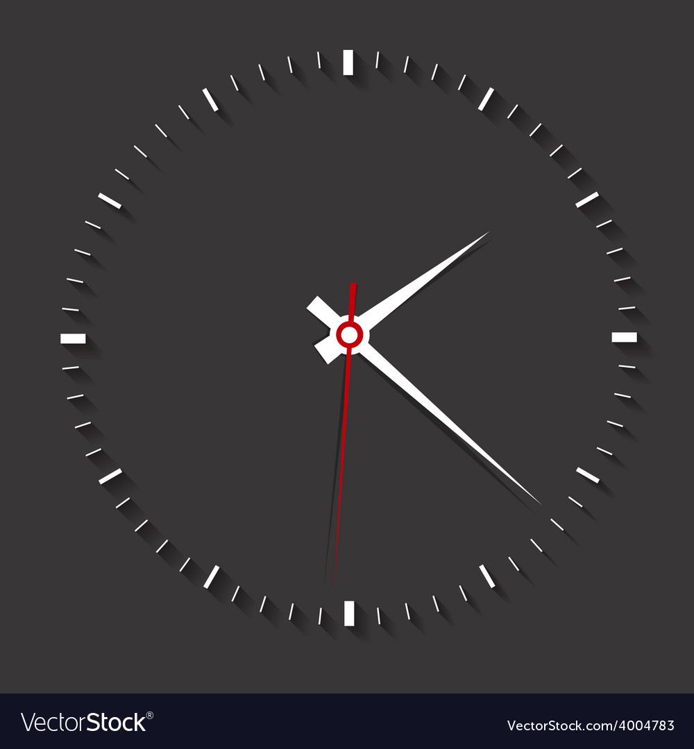 Clock symbol on dark backgroundclean vector | Price: 1 Credit (USD $1)