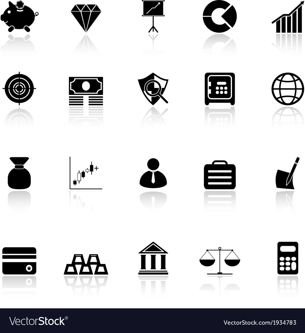 Finance icons with reflect on white background vector | Price: 1 Credit (USD $1)