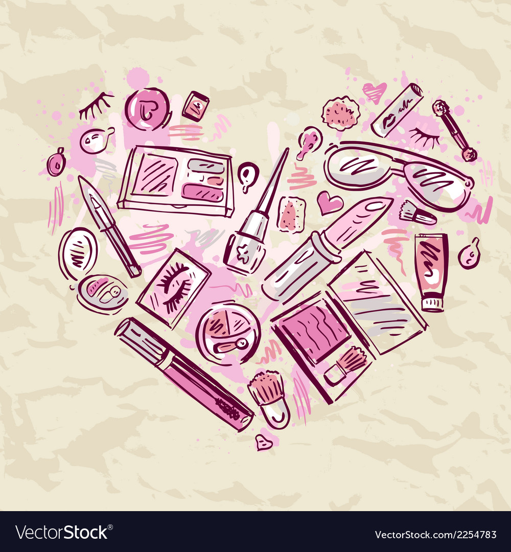 Heart of makeup products set vector | Price: 1 Credit (USD $1)