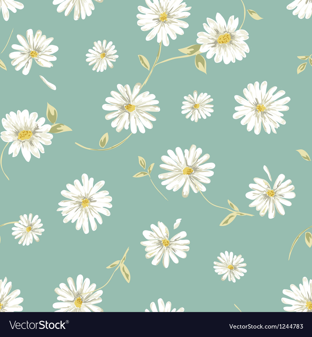 Pretty daisy seamless background vector | Price: 1 Credit (USD $1)