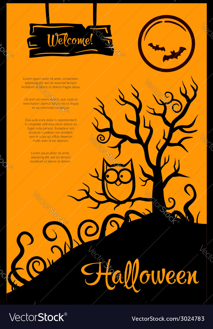 Retro graphical poster with halloween elements vector | Price: 1 Credit (USD $1)