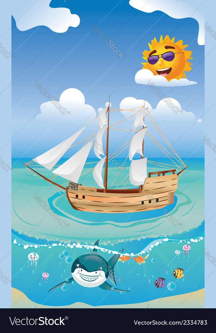 Wooden ship in the sea2 vector | Price: 1 Credit (USD $1)