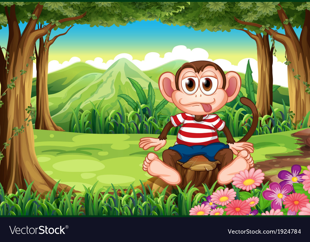 A boastful monkey sitting above the stump vector | Price: 3 Credit (USD $3)