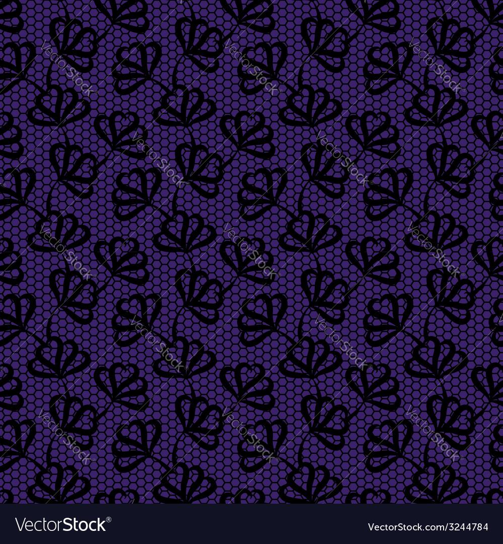Black seamless floral pattern on violet background vector | Price: 1 Credit (USD $1)