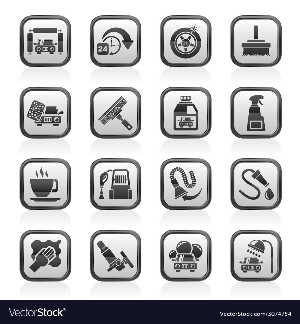 Car wash objects and icons vector | Price: 1 Credit (USD $1)