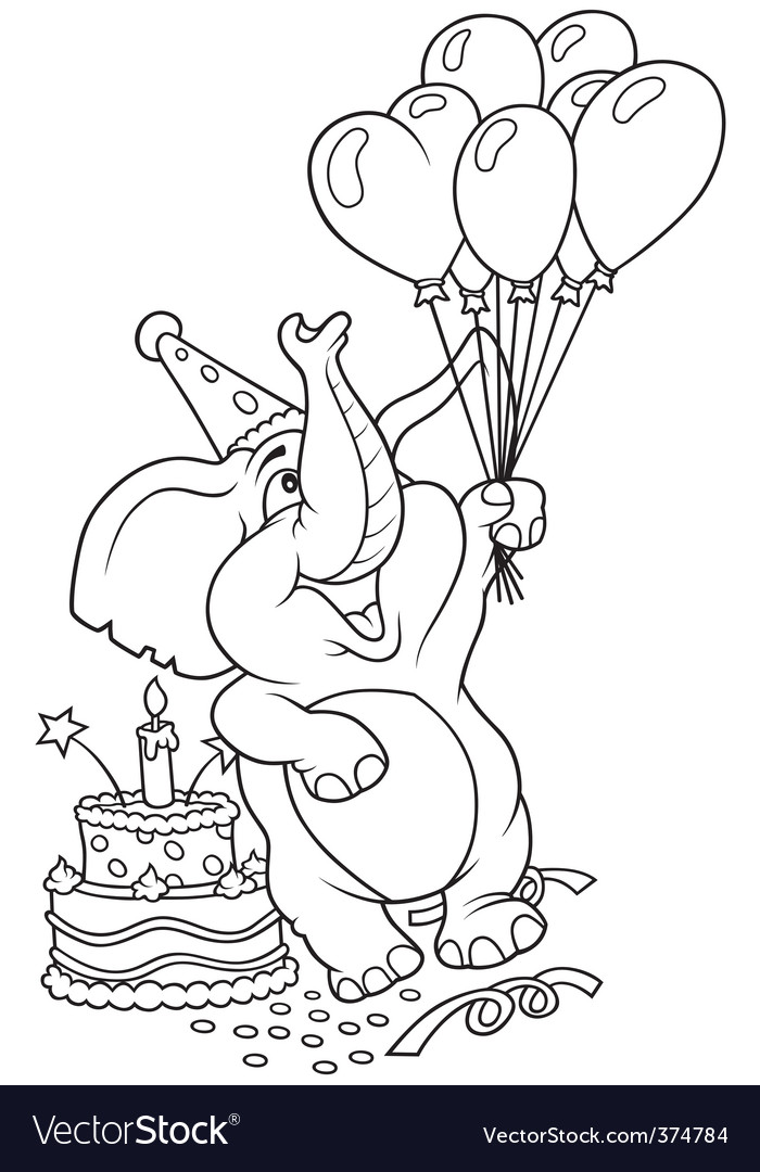 Elephant and happy birthday vector | Price: 1 Credit (USD $1)