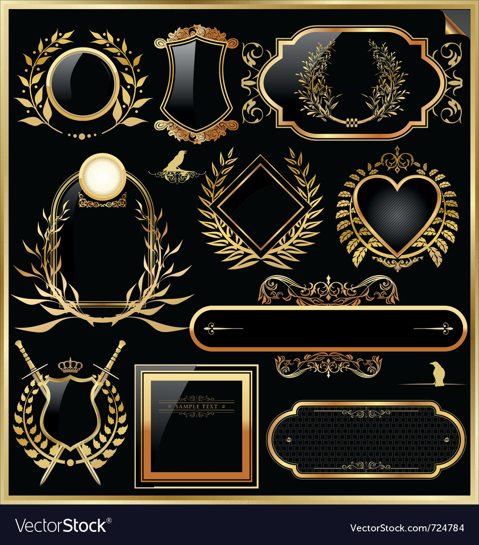 Golden label with laurel wreaths vector | Price: 1 Credit (USD $1)