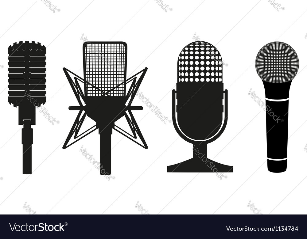 Microphone black silhouette vector | Price: 1 Credit (USD $1)