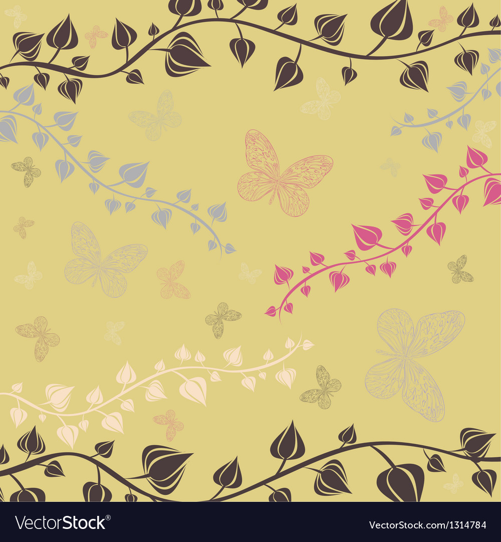 The of flowers and butterflies vector | Price: 1 Credit (USD $1)