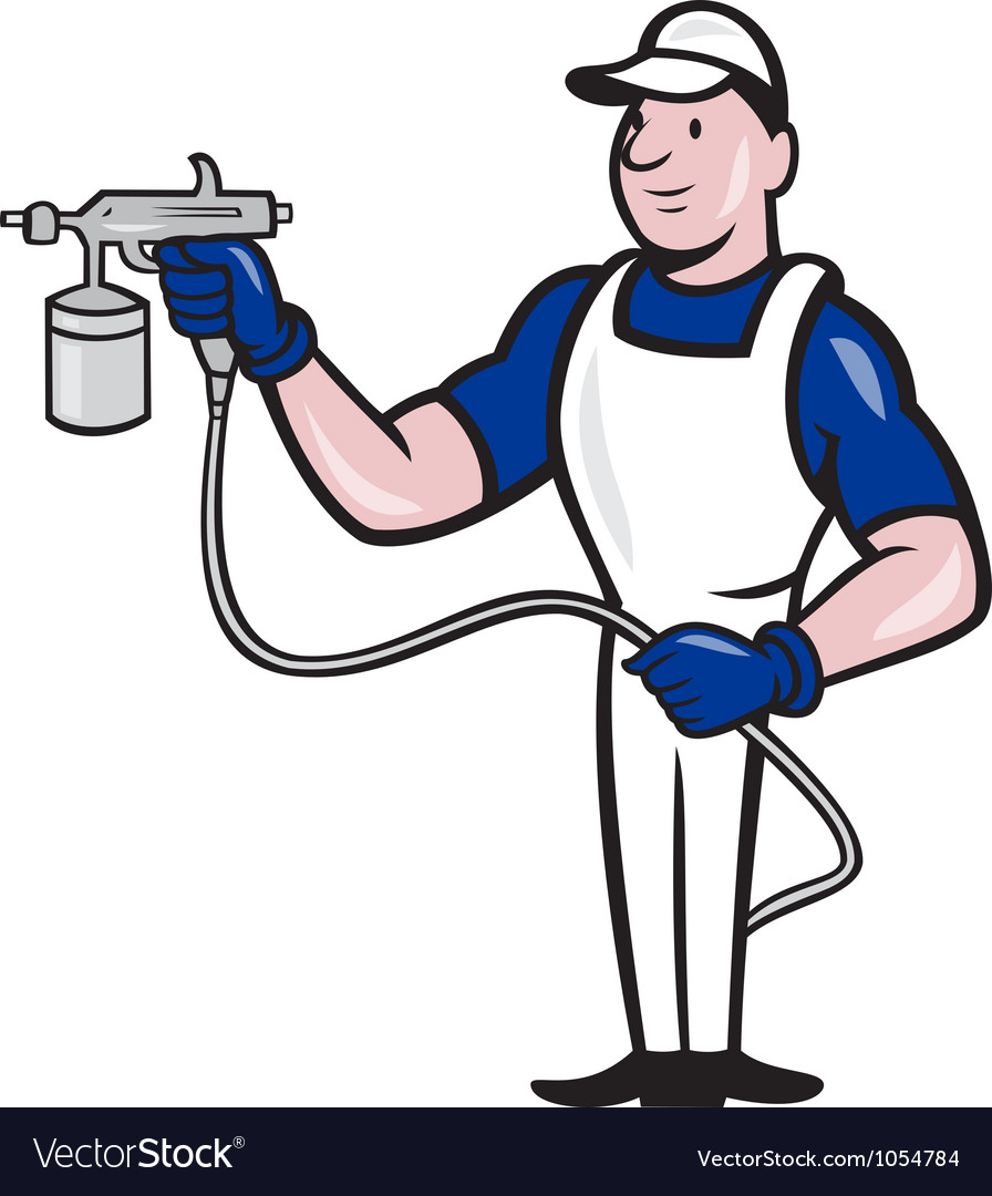 Spray painter spraying gun cartoon vector | Price: 3 Credit (USD $3)