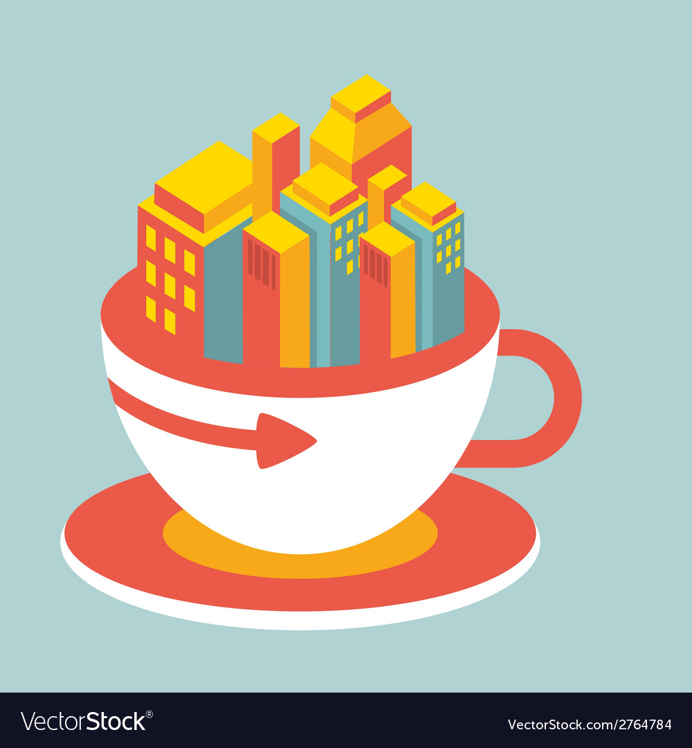 Volume modern city in cup of coffee vector | Price: 1 Credit (USD $1)