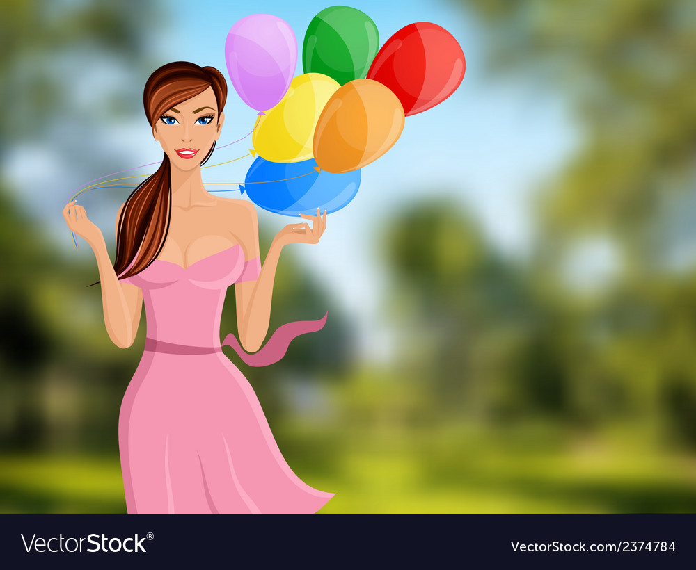 Woman balloon portrait vector | Price: 1 Credit (USD $1)
