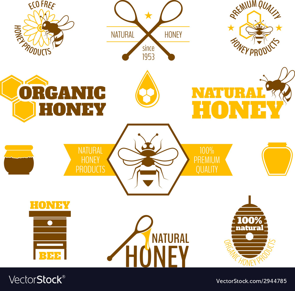 Bee honey label colored vector | Price: 1 Credit (USD $1)