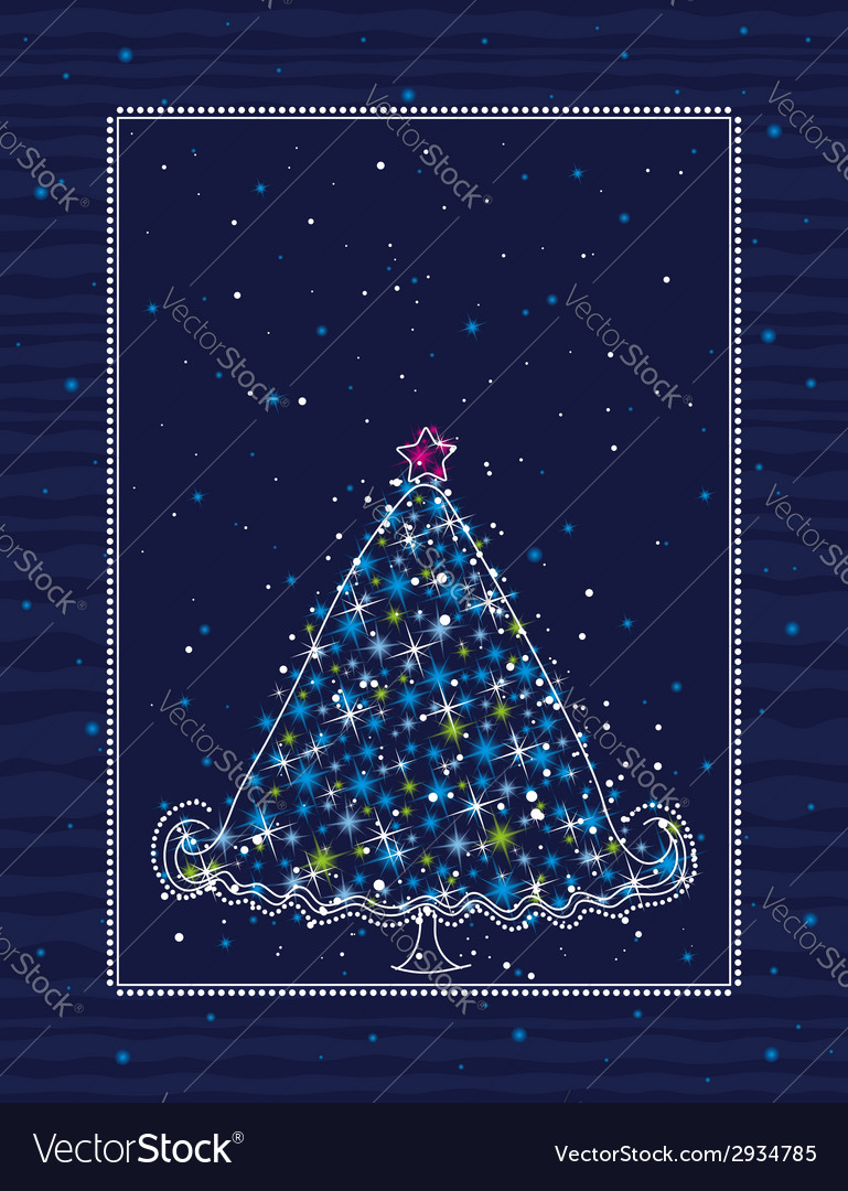 Christmas tree on the blue background vector | Price: 1 Credit (USD $1)