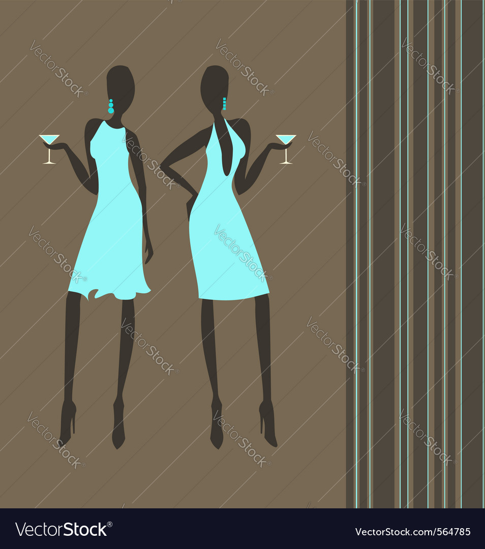 Cocktail girls vector | Price: 1 Credit (USD $1)