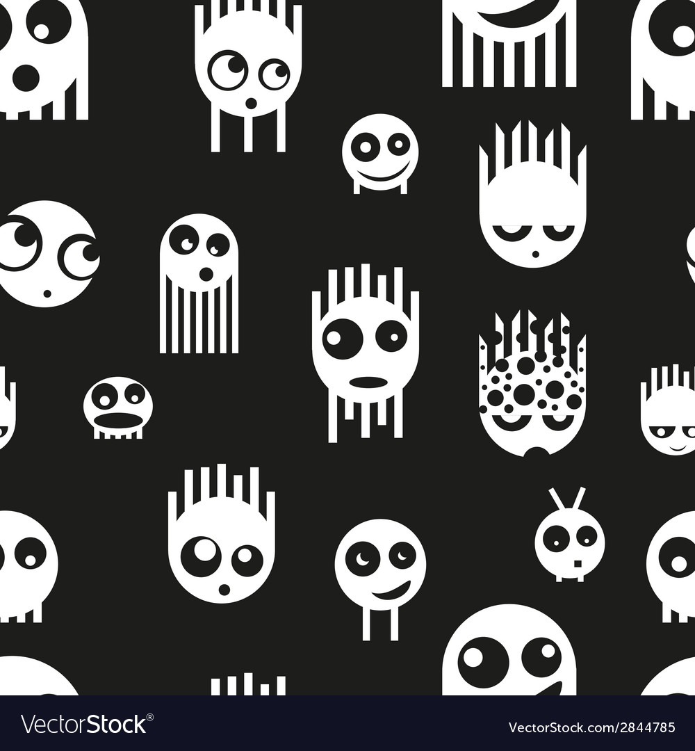 Cute ghost monsters seamless pattern vector | Price: 1 Credit (USD $1)