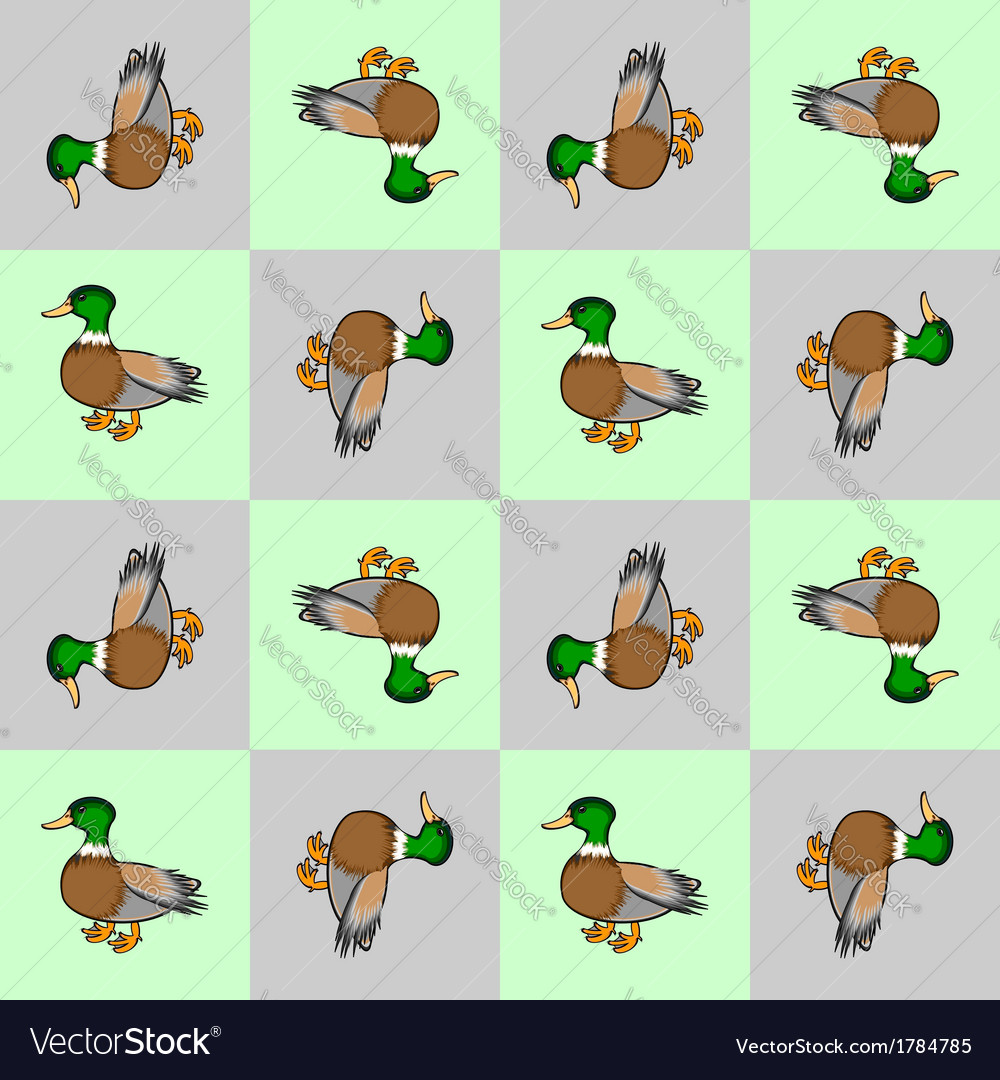 Design seamless colorful checked pattern with duck vector | Price: 1 Credit (USD $1)