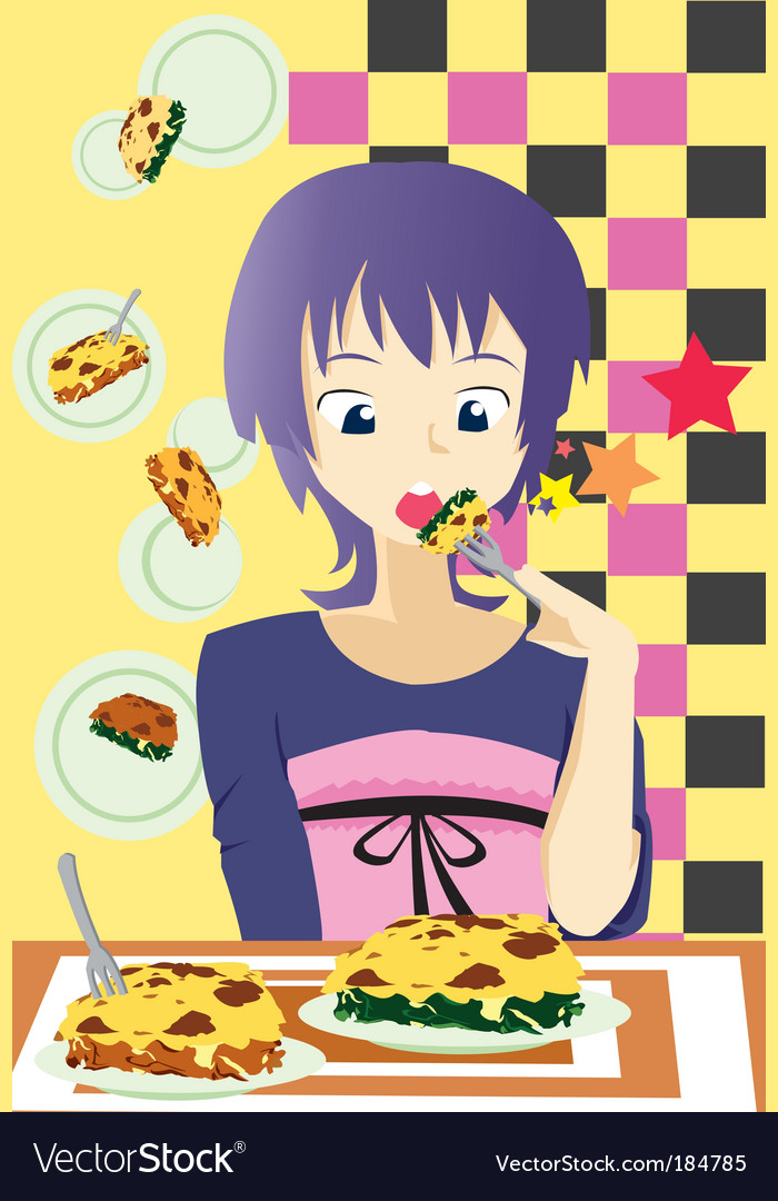 Eat lasagna vector | Price: 1 Credit (USD $1)