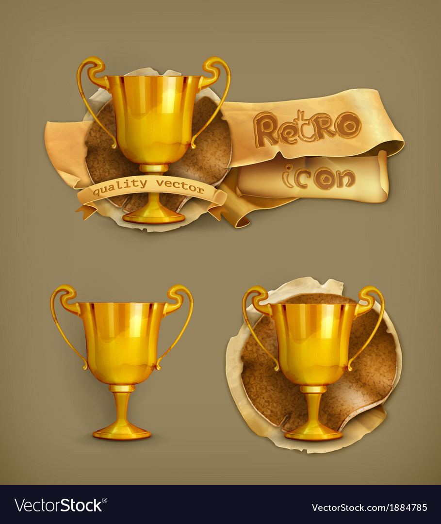 Gold trophy old-style vector | Price: 1 Credit (USD $1)