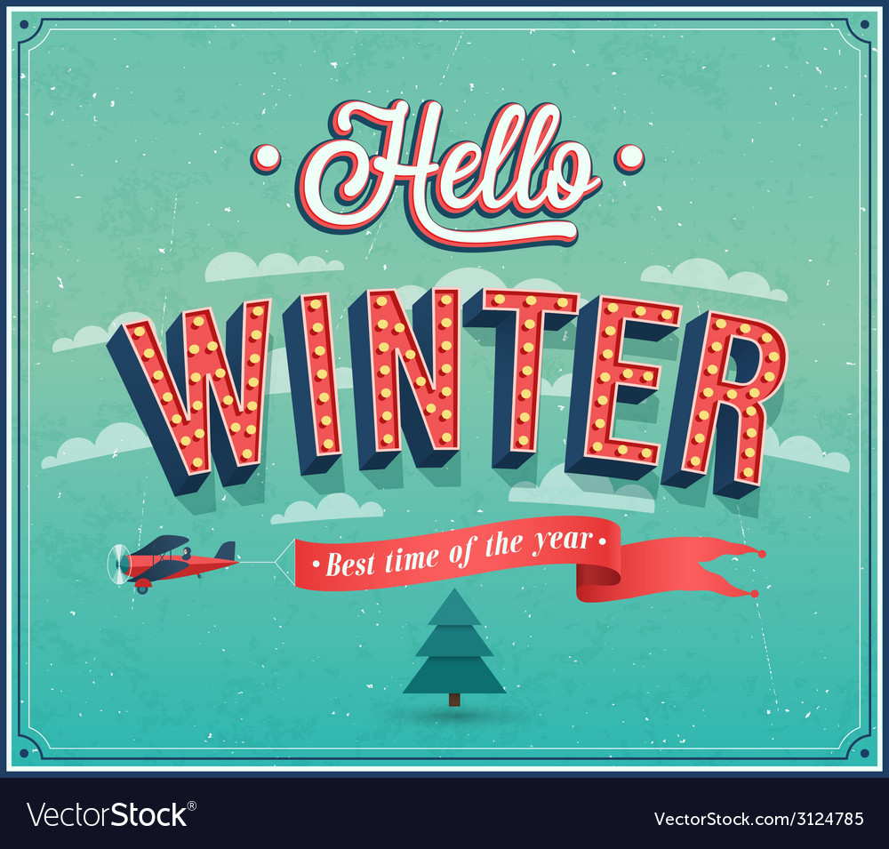 Hello winter typographic design vector | Price: 1 Credit (USD $1)