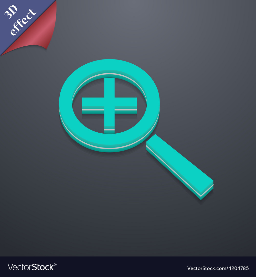 Magnifier glass zoom tool icon symbol 3d style vector | Price: 1 Credit (USD $1)