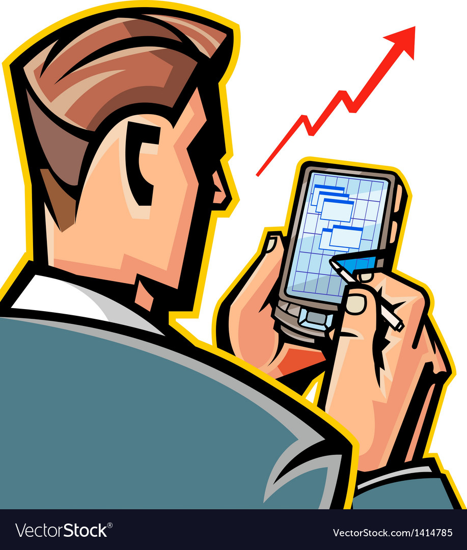 Man holding mobile phone vector   Price: 1 Credit (USD $1)