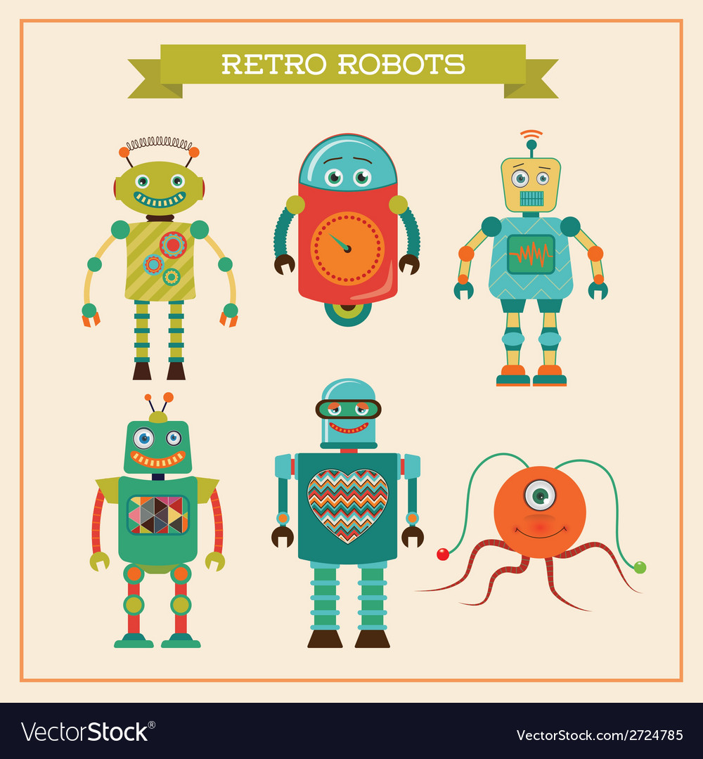Set of cute retro vintage robots vector | Price: 1 Credit (USD $1)