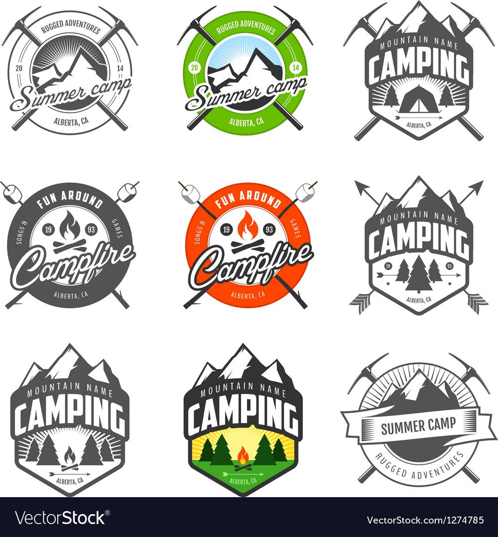 Set of vintage camping labels and badges vector | Price: 3 Credit (USD $3)