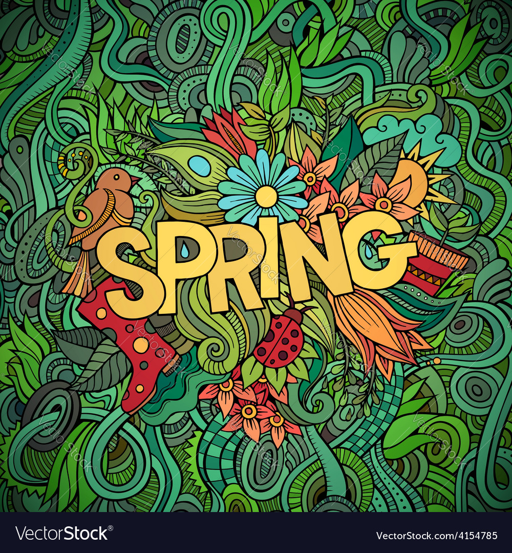 Spring hand lettering and doodles elements vector | Price: 1 Credit (USD $1)