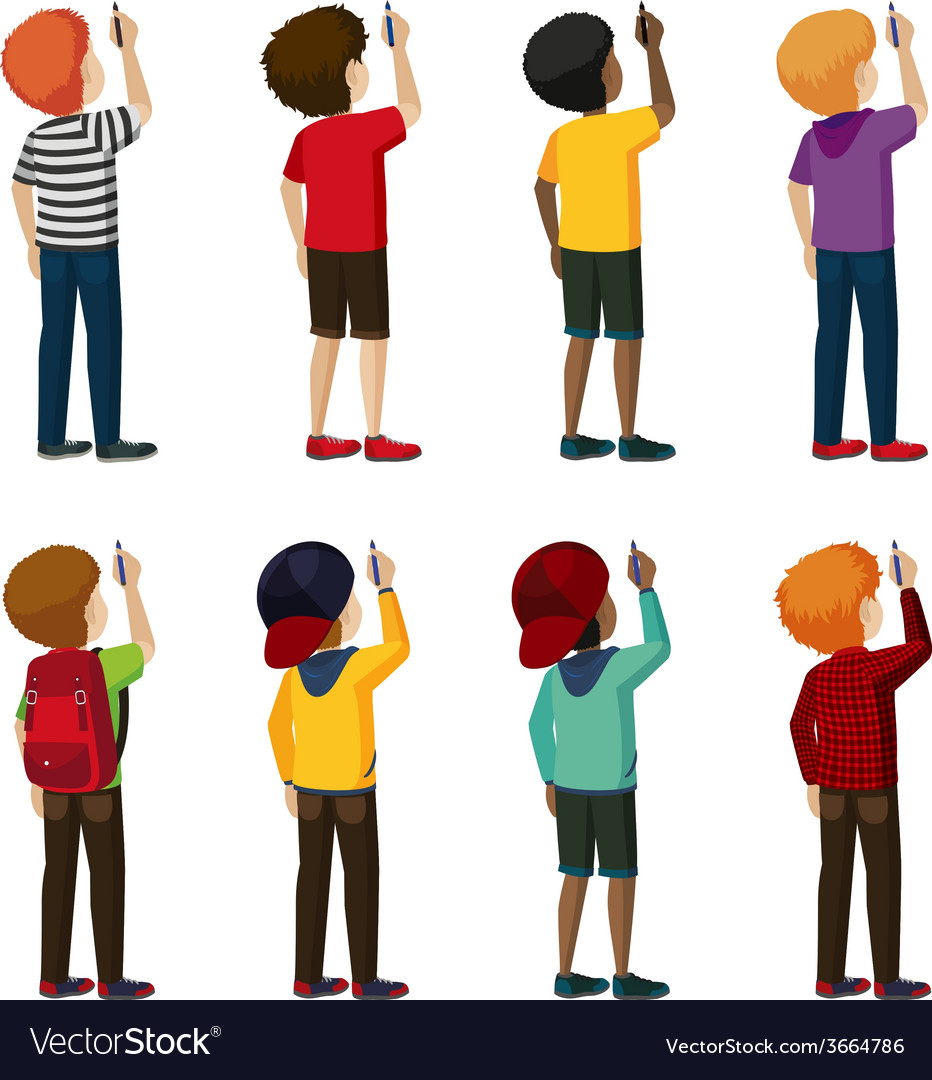 A group of faceless kids vector | Price: 1 Credit (USD $1)