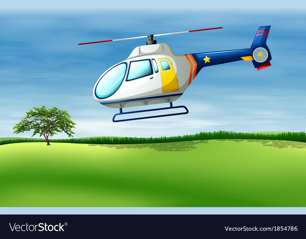A helicopter about to land vector | Price: 1 Credit (USD $1)