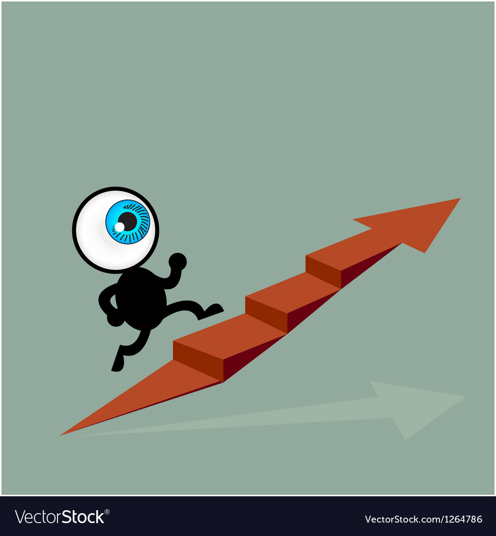 The blue eye running to top of graph path arrow vector | Price: 1 Credit (USD $1)