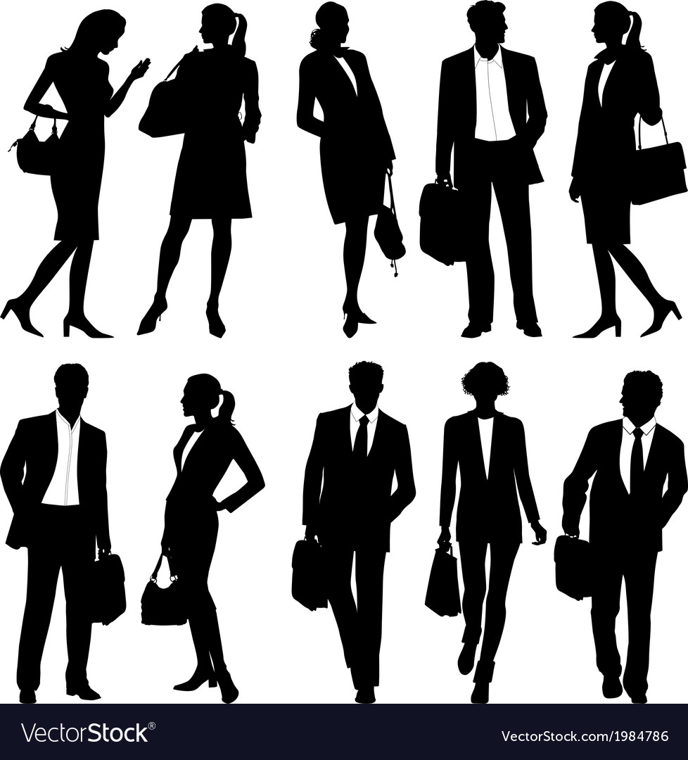Business people - global team - silhouettes vector | Price: 1 Credit (USD $1)