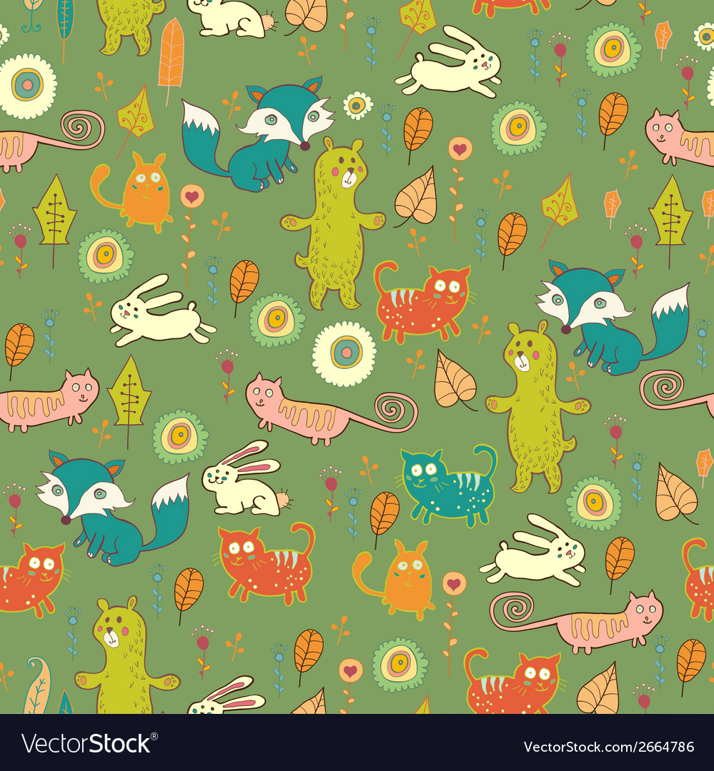 Cartoon cute forest seamless pattern vector | Price: 1 Credit (USD $1)