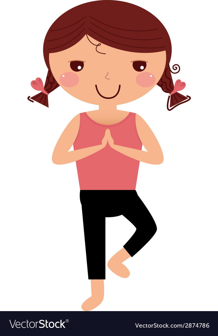 Cute yoga girl isolated on white vector | Price: 1 Credit (USD $1)