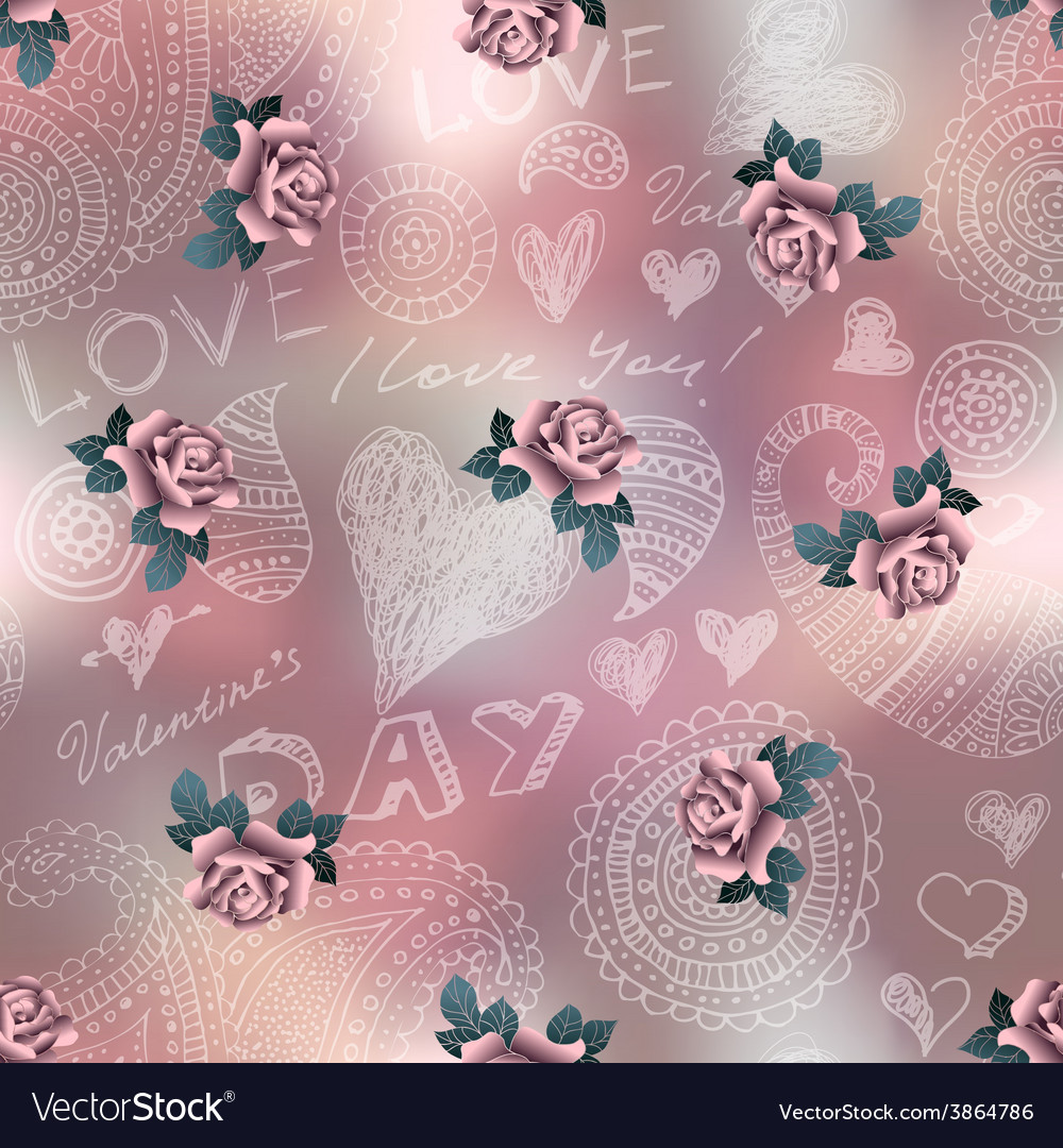 Doodles valentines day pattern on blur background vector | Price: 1 Credit (USD $1)