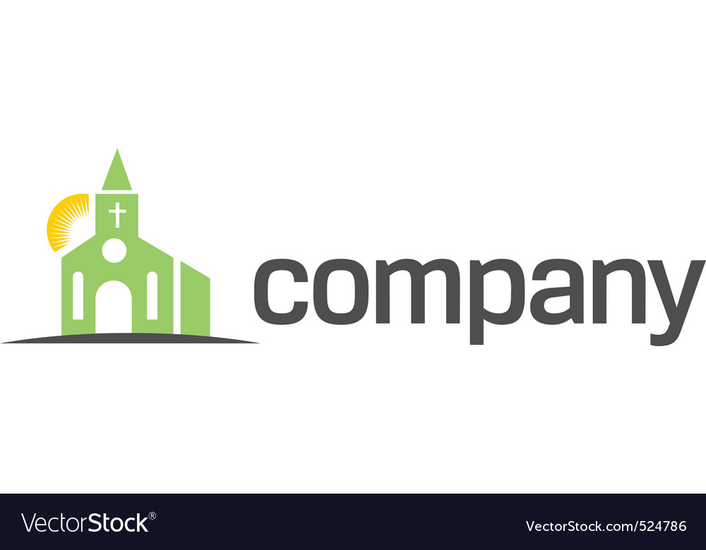 Green church with sun logo vector | Price: 1 Credit (USD $1)