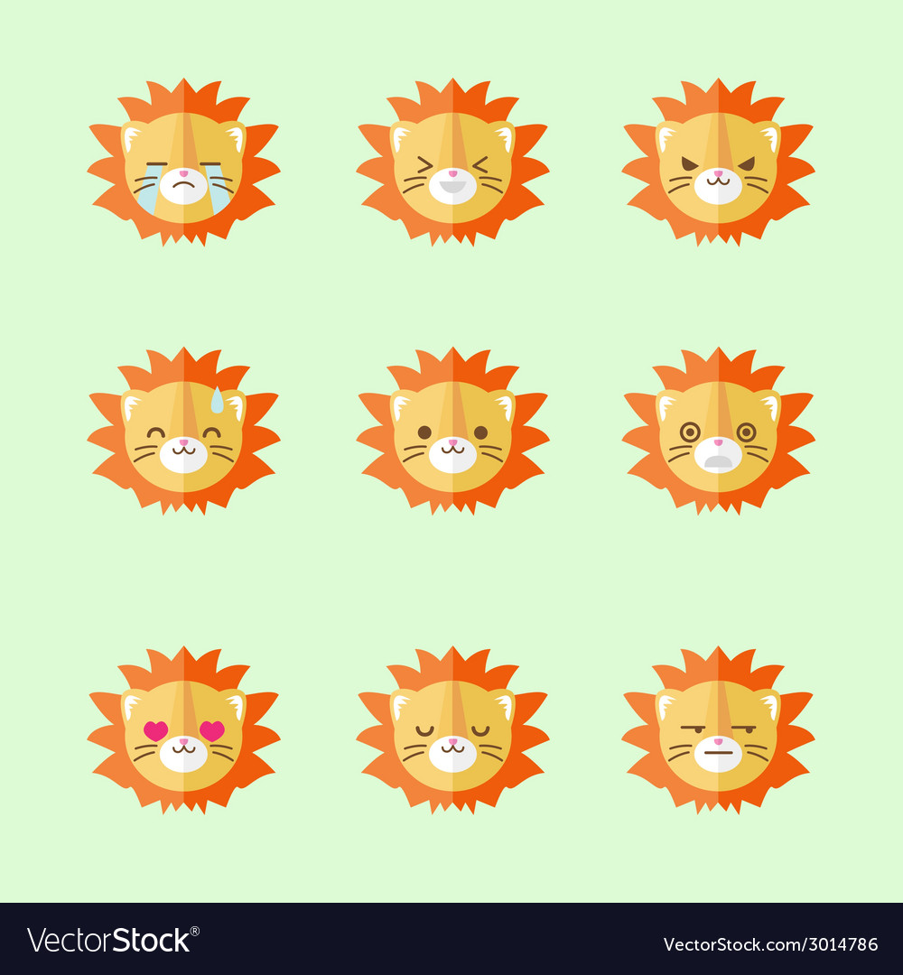 Minimalistic flat lion emotions icon set vector | Price: 1 Credit (USD $1)
