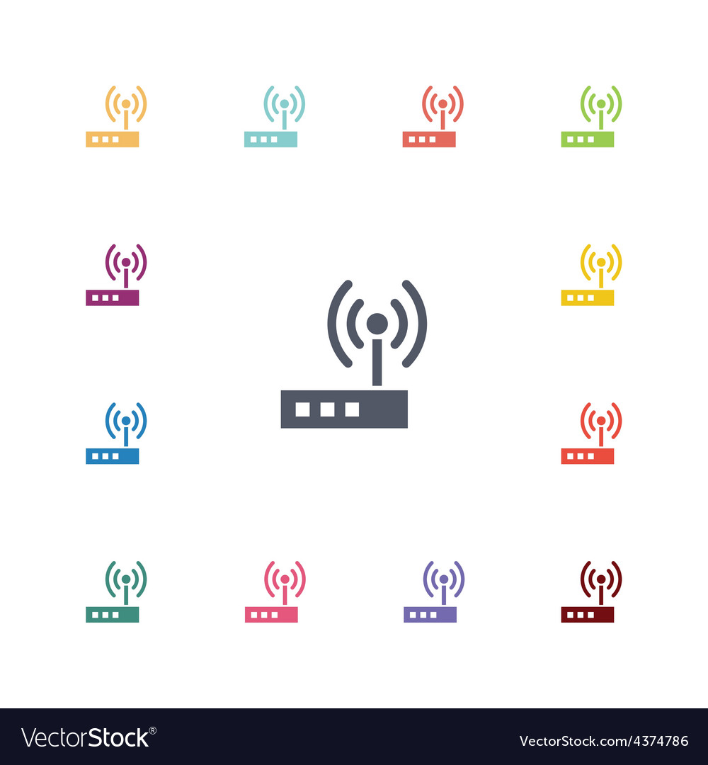 Modem flat icons set vector | Price: 1 Credit (USD $1)