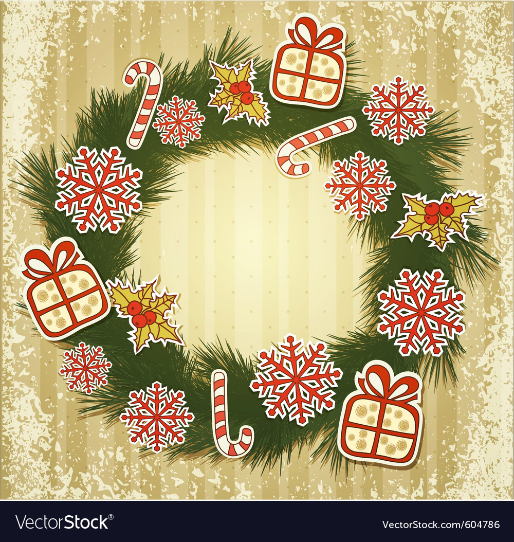 New retro background with christmas garland and to vector | Price: 3 Credit (USD $3)