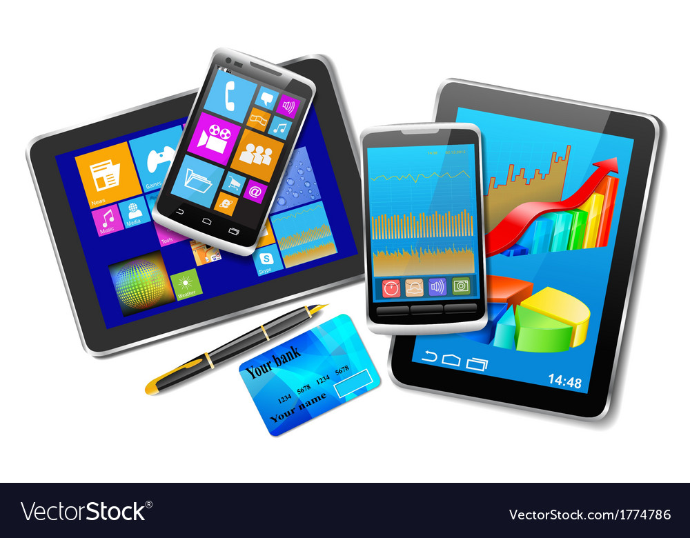 Office and home tablet computers mobile phones of vector | Price: 1 Credit (USD $1)