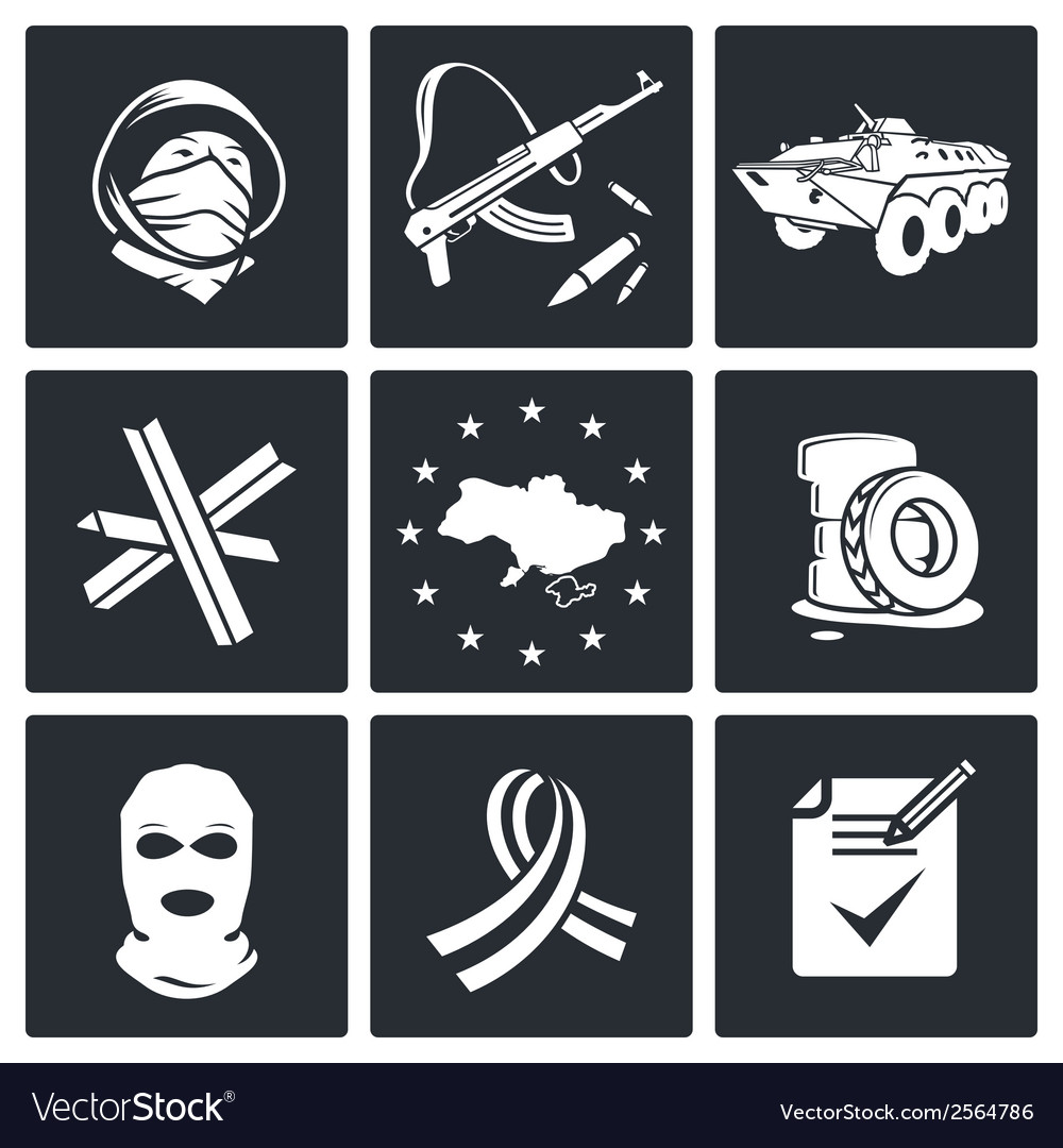 Opposition icon set vector | Price: 1 Credit (USD $1)